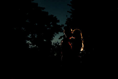 Silhouette of a couple in love in the forest