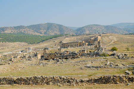 ruins of the city of pamukkale in turkey, view of the amphitheater and ruins