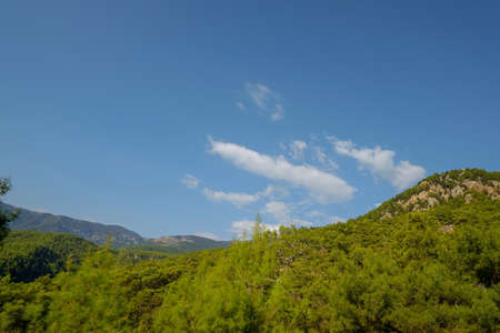 green mountains in Turkey against the blue sky