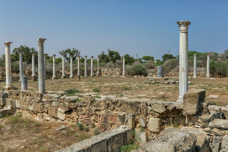 Famagusta, Turkish Republic of Northern Cyprus. Corinthian columns at ancient city Salamis ruins. Sunny day, blue sky.