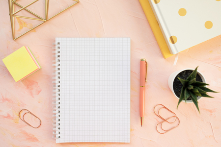 Squared notebook, pen and succulent plant on a student desk workspace, pink backround. Flat lay, top view, mockup, social media hero header template.
