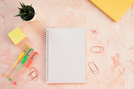 Squared notebook, pens and succulent plant on a student desk workspace, pink backround. Flat lay, top view, mockup, social media hero header template. 写真素材