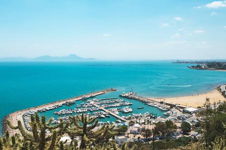 Sidi Bou Said, Tunisia. Sea view of the coast line and harbor. Blue sky, copy space.