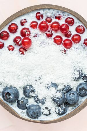 Chia seed pudding with blueberries, red currant berries and coconut flakes in a bowl