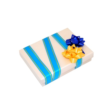 Beige gift box with two bows  Blue and yellow