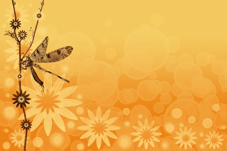 An abstract summer background with a dragonfly