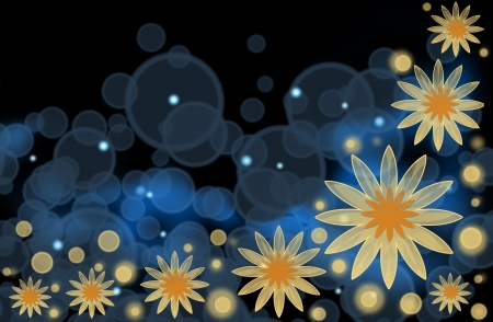 An abstract bright background with yellow flowers and blue bubbles photo
