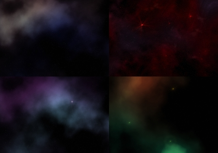 Set  4 cosmic sky patterns with galaxy and stars Stock Photo - 14354821