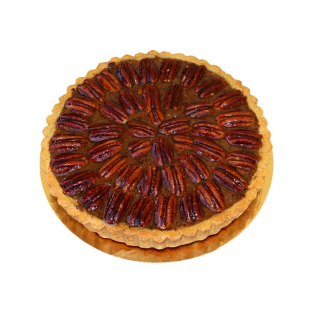 Tasty and beautiful pecan pie with caramel syrup