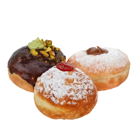 Sufganiyot - donuts for Hanukkah  With chocolate, dulce de leche and jam