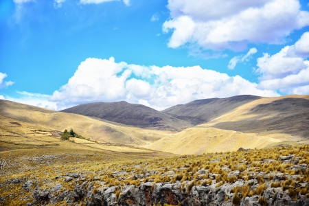 Landscape of Peru. Hills, fields and stones. Stock Photo