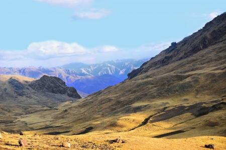 Mountains of Peru. Andes, hills, fields. Blue sky and blue mountains.
