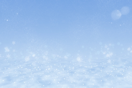 Winter background: Blue sky, snow drifts, snowflakes, sparkling snow. photo