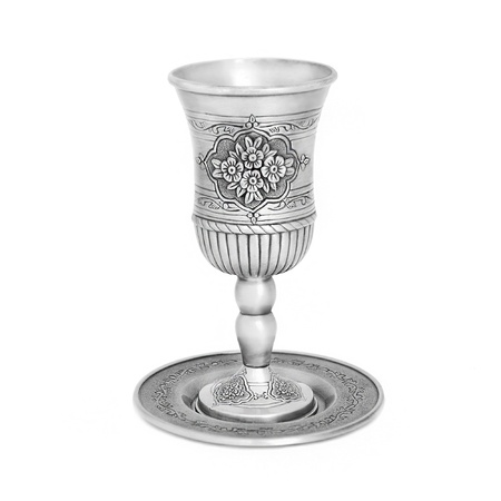 kiddush: Steel jewish cup for a meeting of the Jewish Saturday