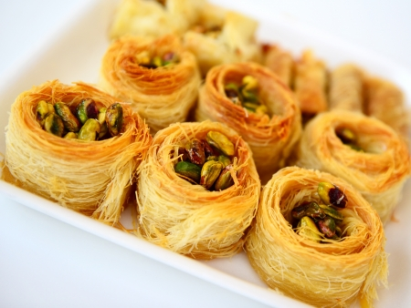 Arabic sweet baklava with pistachio nuts  The traditional Middle Eastern dessert  Stock Photo