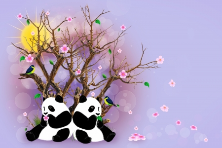 Two pandas sitting under a dry tree with blossoming flowers. Painted bird, pandas, flowers and leaves. photo