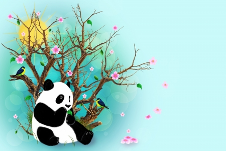 Panda sitting under a dry tree with blossoming flowers. Painted birds, panda, flowers and leaves. photo