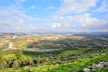 Beautiful view from a mountain to the Israeli countryside.