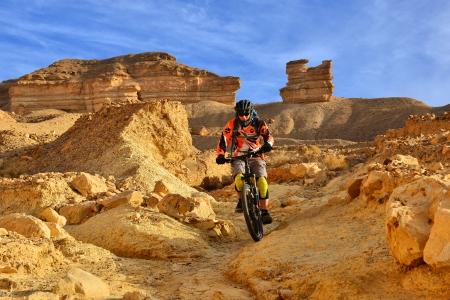 mountain bicycle: Motociclista della montagna in un deserto montagnoso. Bei paesaggi e sport estremo.