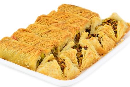 baklawa: Traditional Arabic Dessert. Baklawa wiht nuts.