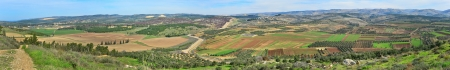 Panorama of fields, villages and agriculture in Israel   Stock Photo