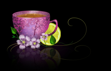 A cup of tea with a lemon and flowers on a black background. Digital art composition. photo