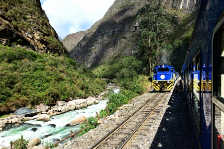 Railway to Machu Picchu and Urubamba River  Stock Photo