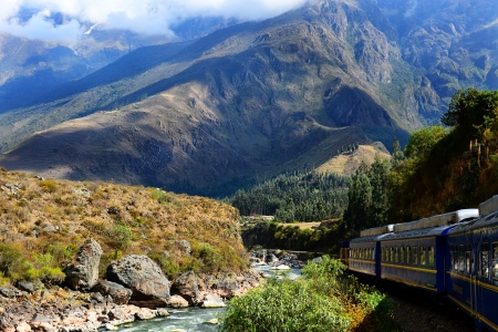 Railway to Machu Picchu through mountains and rivers