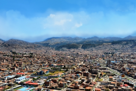 Urban landscape of Cusco, Peru  A view from a mountain  Stock Photo