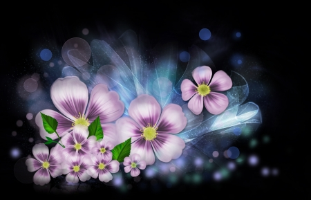 Bright flower fantasy on a black background Stock Photo - 20302455
