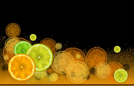 Bright illustration on a black background of oranges, lemons, limes and bubbles. Stock Photo