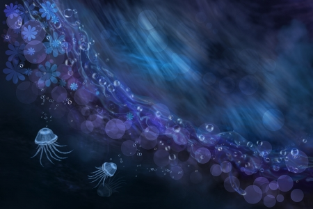 Digital art composition  Abstract sea and jellyfish  Fantasy illustration Stock Illustration - 20302657