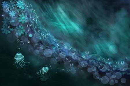 Digital art composition  Abstract sea and jellyfish  Fantasy illustration  illustration