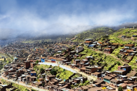 Poor neighborhood on the outskirts of Cusco  At an altitude of 3500 meters