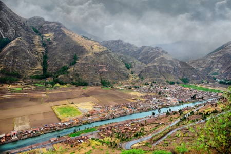 sacred valley of the incas: The Sacred Valley of the Incas. Urubamba river in the valley, mountains and the city.