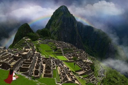 picchu: Illustration, collage, drawing and digital art. The great emperor of the Incas in the lost city of Machu Picchu.