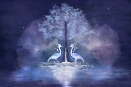 Fabulous herons and tree with living water. Fantastic illustration. Stock Photo