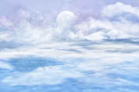 Digital art. Fantasy landscape in blue colors with a planet, phoenix and mountains. photo