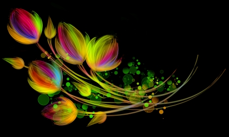 Digital art drawing. Flower fantasy on black background. Stock Photo