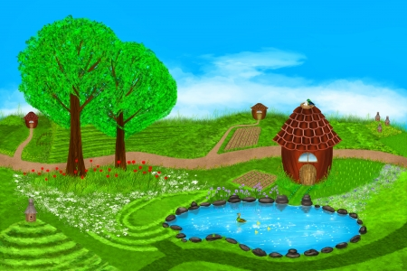 A fabulous summer illustration. Fields, flowers, beehives, lake, ducks, houses and more on this beautiful summer illustration. Digital art style. Stock Illustration - 22649258