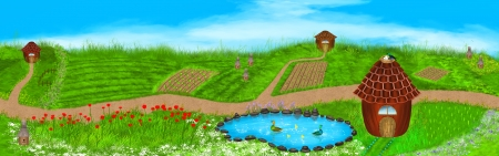 Panorama illustration of a summer landscape. Fields, flowers, beehives, lake, ducks, houses and more on this beautiful summer illustration. Digital art style. illustration