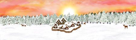Illustration village in a forest. Digital art. Winter landscape.