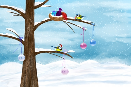 Chickadees celebrate Christmas on the tree. Festive winter illustration. Stock Photo