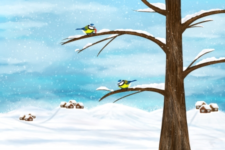 Black capped Chickadee birds on a tree. Winter illustration.