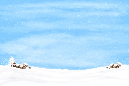 Winter background with houses and deer. Winter illustration.