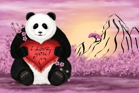 Digital art illustration. Big panda with a silk pillow in the shape of heart and words 'I love you'. illustration
