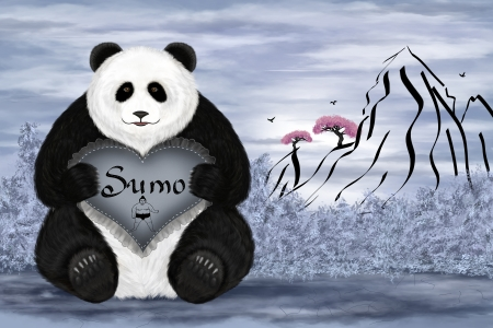 Digital art illustration. Big panda sumo. Background in japanese style. illustration