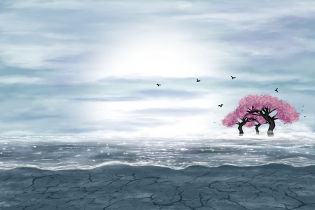 Fantasy landscape in blue and gray colors. A water in a desert, and flowering trees. Digital art.