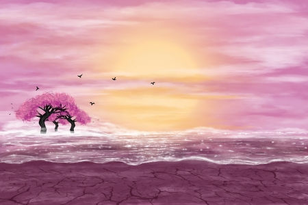 Fantasy landscape in yellow and pink colors. A water in a desert, and flowering trees. Digital art. photo