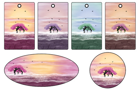 Stickers and labels with pink trees. Fantasy landscape. Digital art.